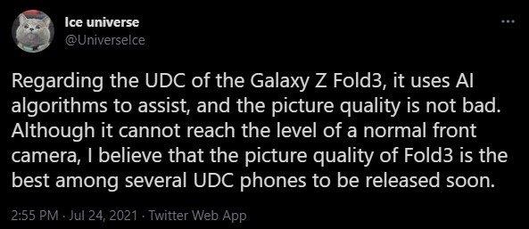 Ice Universe Galaxy Z Fold 3 UDC