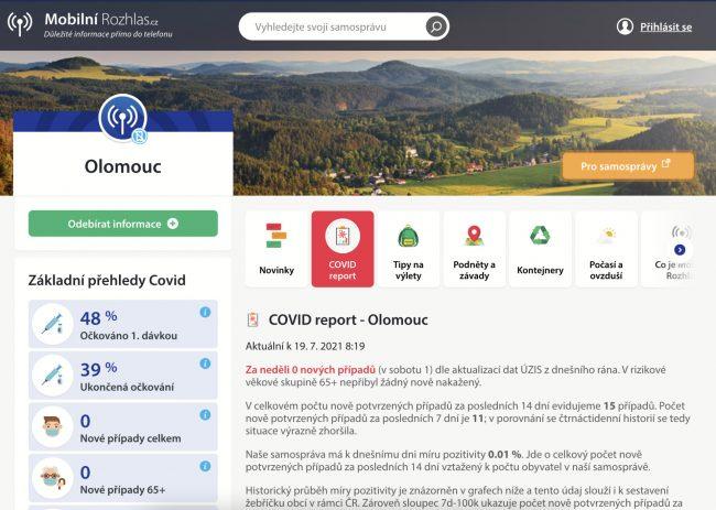 covid report mobilni rozhlas