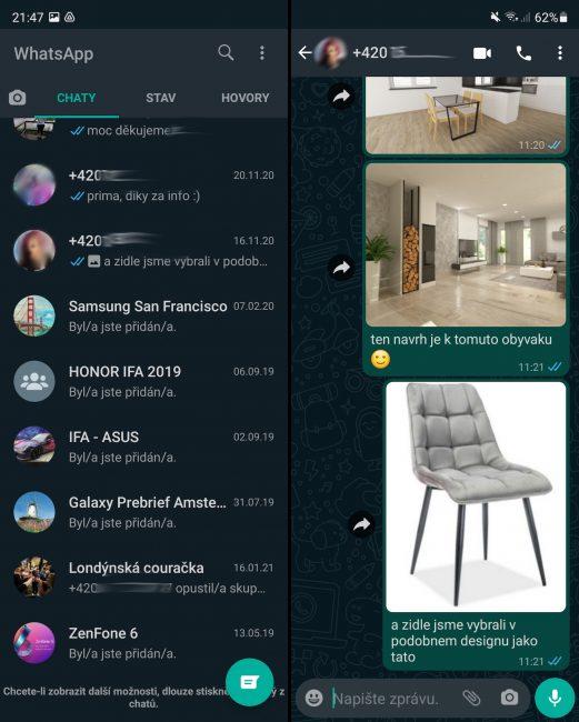 Fold 3 WhatsApp splitscreen