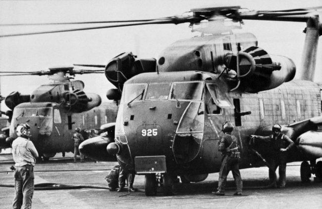 HH 53s on USS Midway CVA 41 off Vietnam 1975