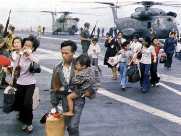 Vietnamese refugees arrive on USS Hancock 2